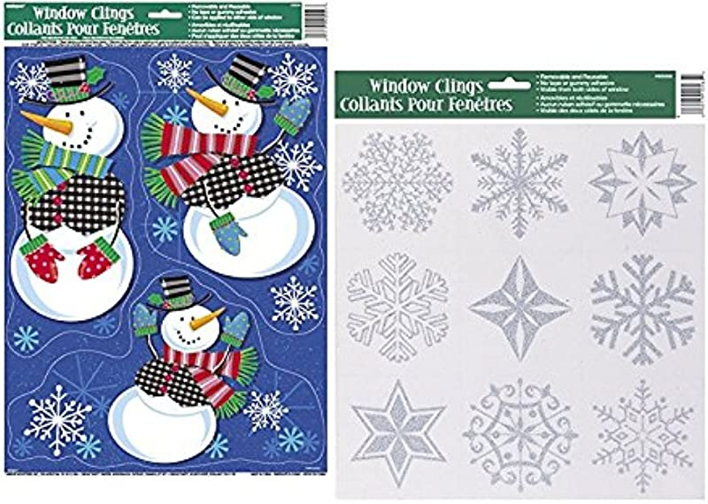 Unique Ind Snowmen And Glitter Snowflakes Christmas Window Clings Christmas Decorations Large Sheet 17 X 12 Snowmen And Glitter Snowflakes Window Clings