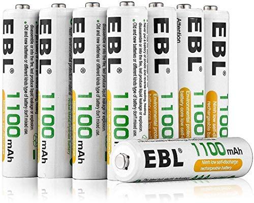 EBL 1.2V AAA Batterie Ricaricabili con 1200 cicli,Pile Ricaricabili da 1100mAh Ni-MH con Comodo Astuccio,Confezione da 8 pezzi