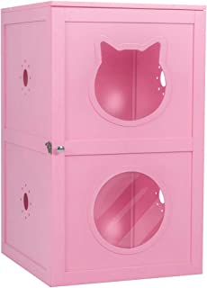 Good Life Double-Decker Indoor Pet Crate 2 Story Cat Litter Box Enclosure Furniture Cat House with Table Home Nightstand Large Box White Pink Color