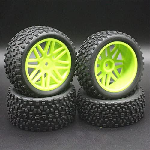 3 unids / Lote de Goma para RC 1/10 Buggy Ruedas y neumáticos 1mm Hex Hub Mount para RC Off Road Car para HSP HP ( Color : Green )