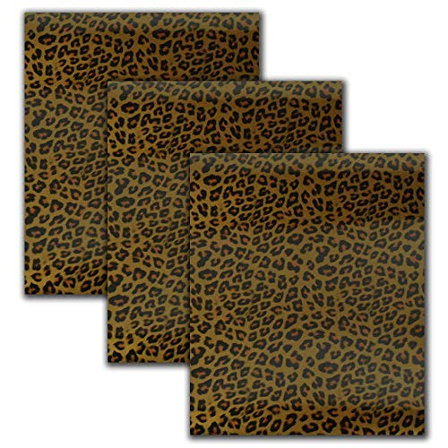 Heat Transfer Vinyl Leopard Patterned HTV Vinyl Sheets Adhesive Iron on Vinyl Patches for DIY Clothing,Shirts,Bags,Hats,Socks (Cheetah)
