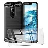QFSM Verre trempé + Protection Coque pour Nokia 5.1 Plus Fibre Carbonique Antichoc Cover Case Étui...