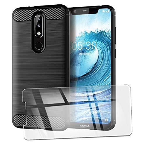 QFSM Funda + Cristal Templado para Nokia 5.1 Plus Silicona Carcasa TPU Anti-Knock Fibra de Carbono Cover Case, HD Película Protectora Cristal Templado Pantalla Glass