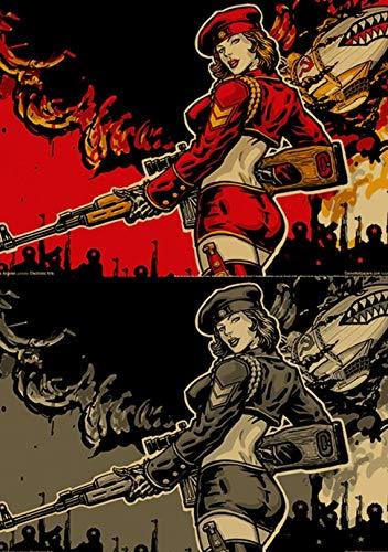 Frameloos populaire confrontatie spel rode waarschuwing poster hoge kwaliteit canvas schilderij hoge kwaliteit home decor <> 50x75cm
