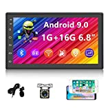 """UNITOPSCI Android Car Stereo Double Din Car Radio with GPS Bluetooth 6.8"""" Capacitive Touch Screen Indash Navigation Head Unit Support Wi-Fi FM Radio Mirror Link for Android/iOS + 12 LEDs Backup Camera"""