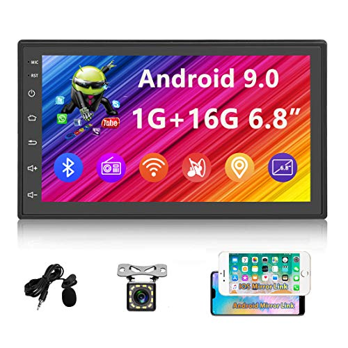 "UNITOPSCI Android Car Stereo Double Din Car Radio with GPS Bluetooth 6.8"" Capacitive Touch Screen Indash Navigation Head Unit Support Wi-Fi FM Radio Mirror Link for Android/iOS + 12 LEDs Backup Camera"