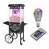 Royal Catering Palomitera Con Carrito E Iluminación LED Diseño Retro Negro RCPW-16.2 Popcorn Machine LED Set (1600 Watt,...