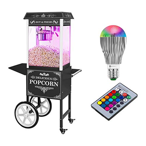 Royal Catering Popcornmaschine Popcorn Maker Popcornautomat RCPW-16.2 Popcorn Machine LED Set (1.600 W, 6 kg/h, 16 L/h, Teflon-Beschichtung, mit Wagen und LED-Beleuchtung) Schwarz Retro