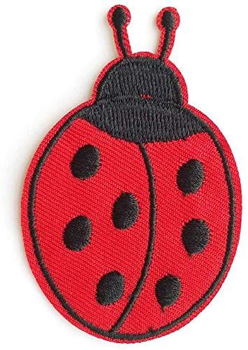 ANNIUP Parche bordado de mariquita para ropa, parche para planchar o coser o ropa, insignia para manualidades,...