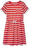 Amazon Essentials Girl's Short-Sleeve Elastic Waist T-Shirt Dress, Red Stripe, Medium