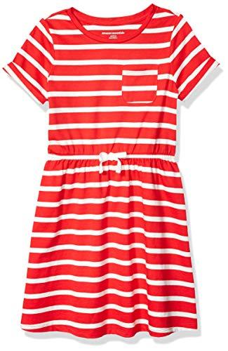 Amazon Essentials Toddler Girl's Short-Sleeve Elastic Waist T-Shirt Dress, Red Stripe, 4T