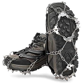 Lixada Crampons avec 21 Dents Inoxydable et Silicone Durable Crampons Randonnée avec Sac de Rangement pour Chaussures Alpinisme Marche Jogging Escalade sur Neige
