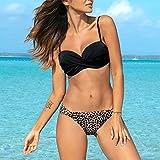 Aiglen Traje de baño Push Up para mujer, traje de baño de dos piezas, Bikinis de leopardo, traje de baño Sexy de verano de talla grande, ropa de playa S ~ 2XL (Color : Color 1, Size : L code)