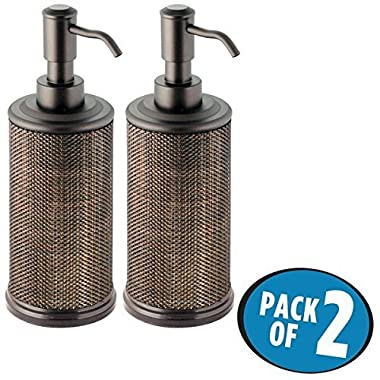 mDesign Liquid Hand Soap Dispenser Pump Bottle for Kitchen, Bathroom   Also Can be Used for Hand Lotion & Essential Oils - Pack of 2, Bronze