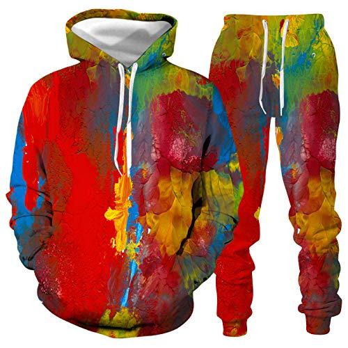 DREAMING-Traje deportivo informal con capucha para pareja con salpicaduras de impresión digital 3D chaqueta de jersey de manga larga + pantalones traje deportivo de otoño invierno 5XL