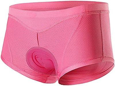ARSUXEO Culotte acolchado de ciclismo para mujer, ropa interior de ciclismo 3D, antibacteriano, para ciclismo, equitación, deporte, color rosa, EU XS / Asia S