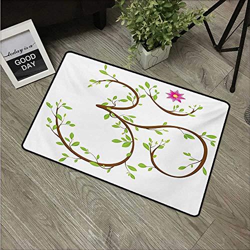 HRoomDecor Paillasson en Caoutchouc Durable pour Yoga, Motif Floral Aquarelle inspiré de la Nature, Motif Hippie Mauve Bleu pâle et Blanc 24\