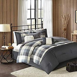 Country Farmhouse Rustic Grey Plaid Buffalo Check Cal King 7 Piece Comforter Set + Homemade Wax Melts
