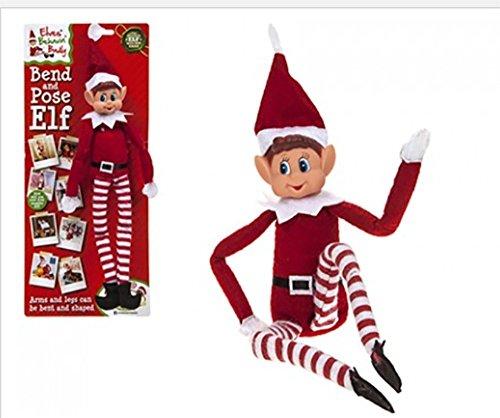 "Elves Behavin Badly Elfo Flexible Flexible de 12 ""con Cabeza de Vinilo - Accesorio de Navidad (Niño Elfo Rojo)"