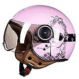 QIULAO Casco Motocicleta Harley Casco Jet Jet Casco Retro Vespa Casco Crucero Scooter Casco D.O.T Certified Open Face For Women Girls Pink (Size : M(54~56cm))