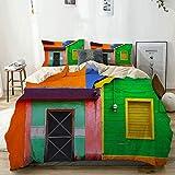 Funda nórdica, casas caribe?as en un esquema de colores vibrantes en Isla Mujeres México Juego de funda nórdica fotográfica de América Latina, 2 fundas de almohada, juegos de fundas de edredón para do