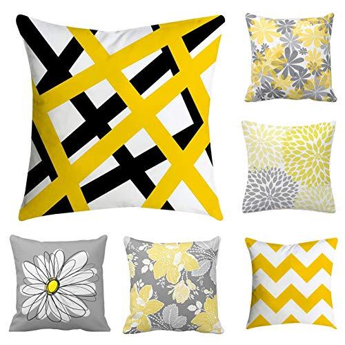 BetterJonny Juego de 6 fundas de almohada, diseño de flores amarillas y geométricas decorativas fundas de cojín para coche, sofá, cama, sofá de 45,7 x 45,7 cm