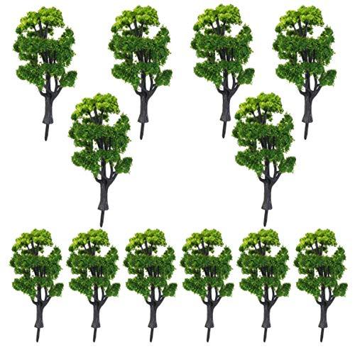 jojofuny 12Pcs Modell Bäume- Kunststoff Künstliche Zug Bäume Landschaft Modell Gebäude Modell Bäume Gefälschte Mini Bäume für DIY Handwerk Oder Gebäude Modell (1: 50)