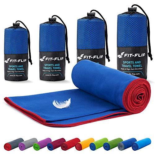 Fit-Flip Mikrofaser Handtuch Set – 18 Farben, viele Größen – Ultra leicht & kompakt – Sporthandtuch, Strandhandtuch und Reisehandtuch (Set2: 80x160cm + 40x80cm, Dunkelblau - Rot)