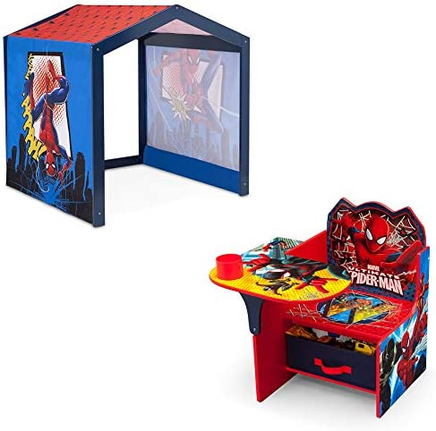 Marvel Spider Man Indoor Playhouse with Fabric Tent Spider Man Chair Desk with Storage Bin product image