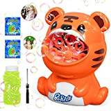 HEITIGN Bubble Machine for Kids, Outdoor Water Toys for Kids Toddlers Boys Girls, Automatic Bubble Maker with Solutions for Parties, Backyard Outdoor Activities Birthday Gift (Orange Tiger)