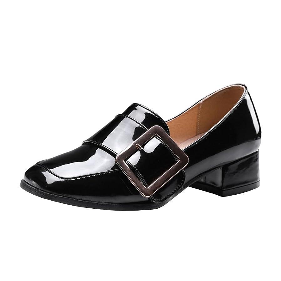 財団霧深い追う[Coolulu] レディース パンプス ローファー?靴?レディース スクエアトゥ レディース?モンクストラップ?レディース パンプス 太ヒール?レディース?エナメル?靴