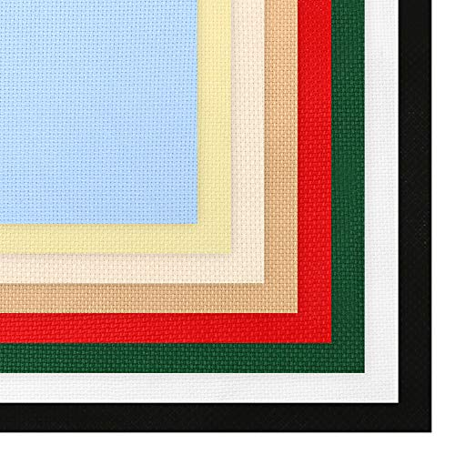 Caydo 8 Pieces Aida Cloth 8 Color 14 Count Classic Reserve Cross Stitch Fabric, 12 by 18-Inch