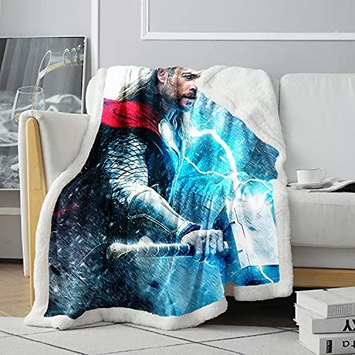 Motif 3D Sherpa Hammer Blanche-Neige et Chasseur Couverture de Sieste Acteur Couverture de Lancer Amoureux Chaud Couverture d'agneau 120x150cm