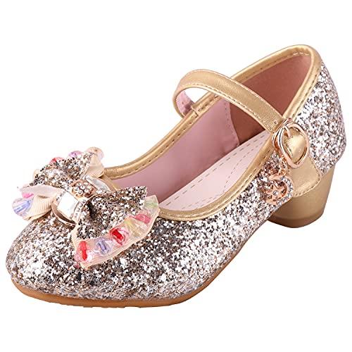 LiUiMiY Chaussure Ballerines Princesse Fille à Talon Paillette pour Déguisement Ceremonie Mariage Carnaval Fête, Or, 29 EU (Étiqueter 30)