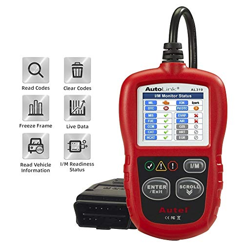 Autel Autolink AL319 OBD2 Scanner Reader Read and Erase Codes Check State Emission Monitor Status with Standard 16-Pin OBD-II Smart and Powerful Scan and Car Diagnostic Tool