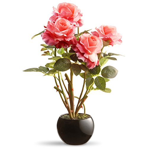 National Tree Company Artificial Flowers | Includes Ceramic Pot Base | Pink Roses-16.5 Inch