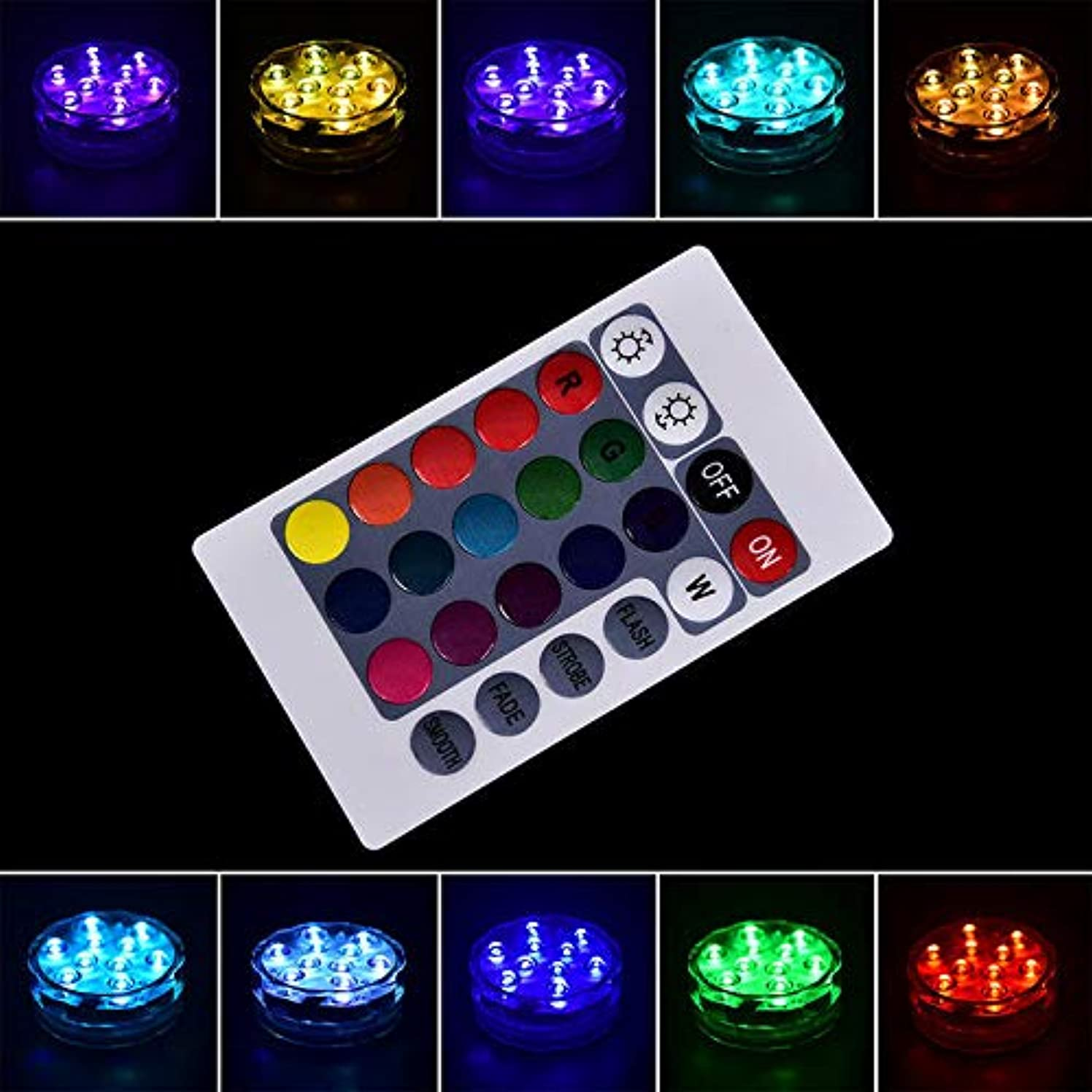 XFENGUS 10 LED RGB Submersible LED Light Battery Operated Multi Color Remote Controlled Waterproof Light from China
