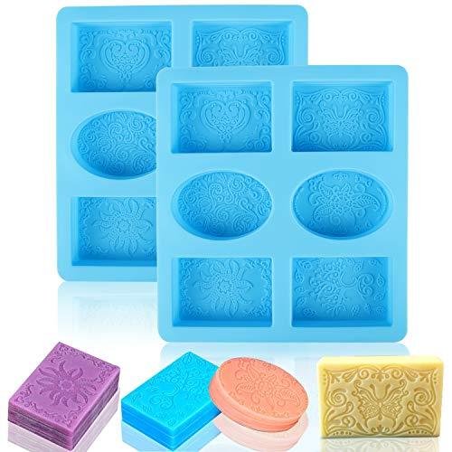 Xingsky Moldes para Jabones,Molde Silicona,Moldes de Silicona,6 Cavidades moldes de Silicona para jabones Molde Redondo y Cuadrado para Hacer Barra de Jabón, Resina, Velas (Azul)