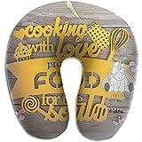 Hao-shop Amo cocinar Carteles Imprimir Almohada Tipo U Almohada de Cuello de Espuma para Viajar Moda de Dolor de Cuello Suave con Material Resistente