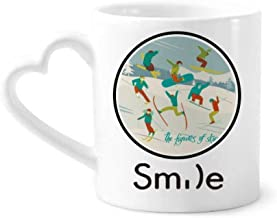 cold master DIY lab Winter Sport Skiing Colorful Illustration Smile Pattern Mug Cup Pottery Heart Handle