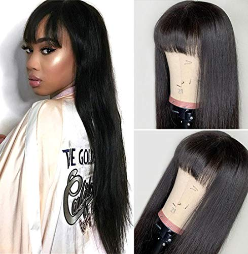 West Kiss Brazilian Straight Wigs With Bangs Human Hair 16 Inch Glueless Machine Made Wigs For Black Women 100% Unprocessed Natural Color (16 inch,wig with free part bangs)