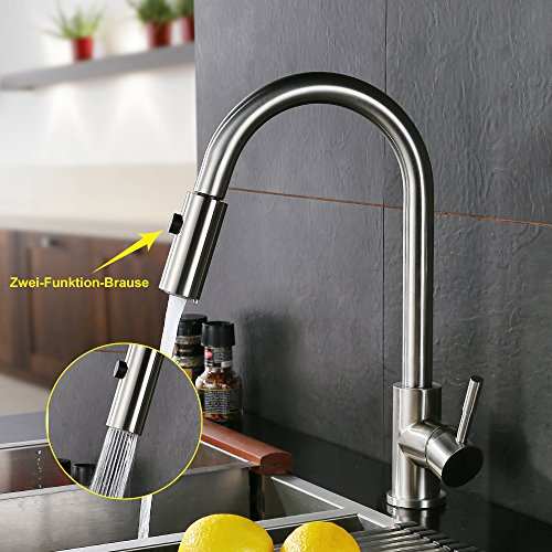 Homelody Spültischarmatur mit herausziehbarem /Ausziehbar Brause Einhebelmischer Wasserhahn Küche Armatur Mischbatterie Wasserkran hoher Auslauf Küchenarmatur - 2