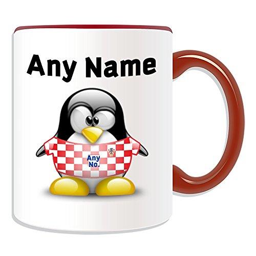 Gepersonaliseerd geschenk - Kroatië Nationale Mok (Penguin Football Team Design Thema, Kleur) Naam/nummer op uw Unieke - FC Kit Shirt Jersey Strip Vatreni De Blazers Peter Miranda Svaic Kroatische CRO Rood