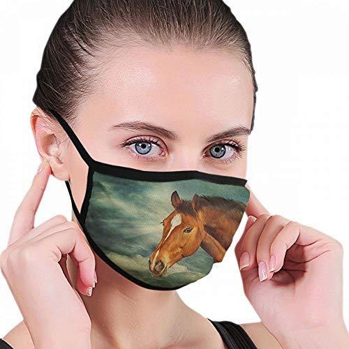 Dämmerungsdichter Mundschutz unter Wolken, Pferd, altes Retro, braune Farbe, wiederverwendbar und waschbar, für Zuhause/Außenbereich
