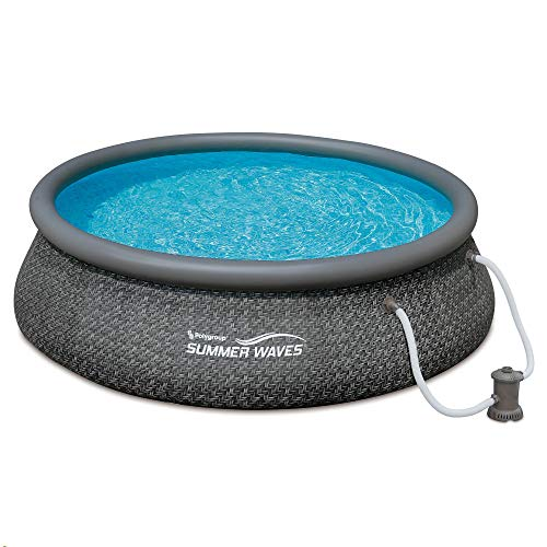 Summer Waves P10012361 Quick Set 12ft x 36in Outdoor Round Ring Inflatable Above Ground Swimming Pool with Filter Pump and Filter Cartridge, Gray