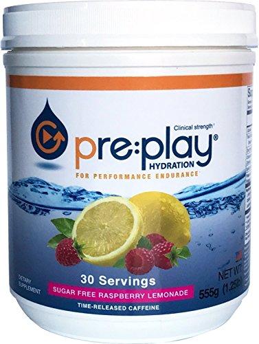 pre:play Hydration and Energy Drink Powder, Raspberry Lemonade - 30 Serving Tub
