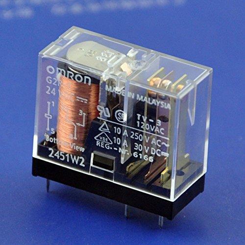 electronics-salon 2pcs Omron 10Amp SPDT Power Relay, G2R-1, 24VDC.