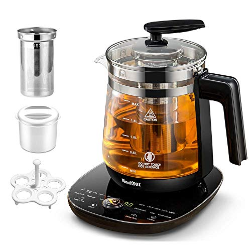 ICOOKPOT MultiUse Electric Kettle Borosilicate Glass Tea Maker and Programmable Control Panel Base Includes Filter Egg Cooker and Yogurt Box Keep Warm Function Water Pot Kettle Black