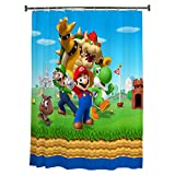 "Franco Kids Bathroom Decorative Fabric Shower Curtain, 72' x 72"", Super Mario"