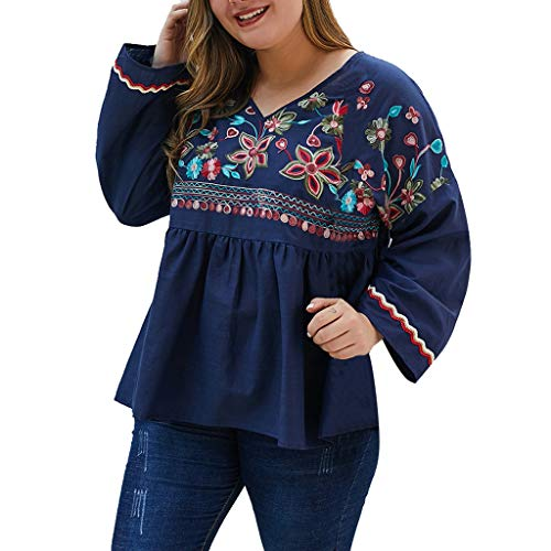 Best Buy! Litetao Women's Bohemian Embroidery Floral Tunic Dresses Long Bell Sleeve Flowy Shift Mini...